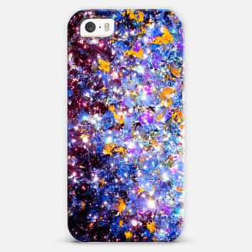 WRAPPED IN STARLIGHT - MIDNIGHT SERENADE Colorful Fine Art Ombre Abstract Acrylic Painting Textural Perwinkle Royal Blue Purple Yellow Galaxy iPhone 5s case by Ebi Emporium | Casetify