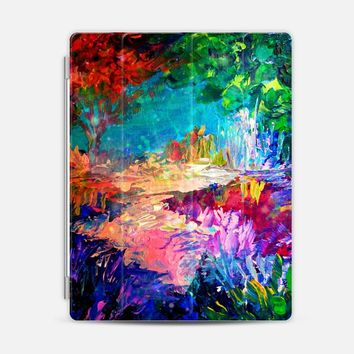 WELCOME TO UTOPIA - Colorful Magical Forest Abstract Trees Floral Nature Galaxy Flowers Rainbow Bold Whimsical Fairy Land Painting iPad 3/4 case by Ebi Emporium | Casetify