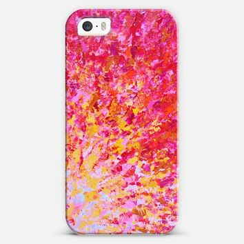 ROMANTIC DAYS - Bold Crimson Red Hot Pink Neon Peach Orange Yellow Ocean Waves Ombre Colorful Romance Abstract Sunrise Sunset Painting iPhone 5s case by Ebi Emporium | Casetify