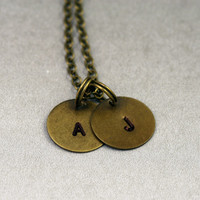 Double Initial Necklace - two initial charms