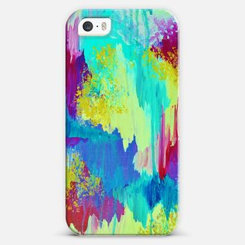 SUGARY GOODNESS - Pretty Pastel Abstract Ikat Colorful Turquoise Blue Aqua Cerulean Sea Chevron Magenta Pink Yellow Whimsical Girlie Painting iPhone 5s case by Ebi Emporium | Casetify