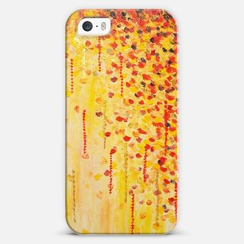 When it Falls- Abstract Leaves Autumn Fall Tree Seasons Gold Yellow Red Dots Painting iPhone 5s case by Ebi Emporium | Casetify