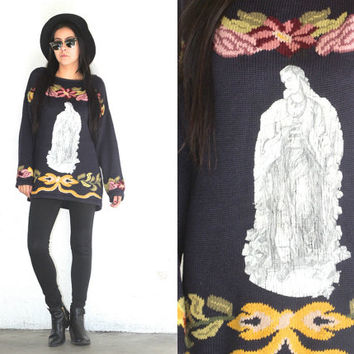 Vintage 90s FLORAL Jesus Upcycled Recycled Pullover Sweater // Navy Multi // Hipster Grunge // XS Extra Small / Small / Medium / Large