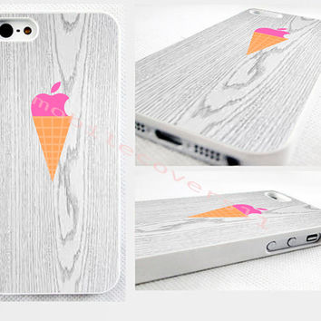 pastel pink ice cream cone phone cover iPhone 4,4s 5,5s 5C,6,6 plus. no real wood