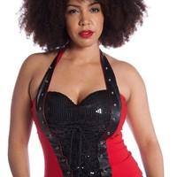 Sparkle in the Dark Plus Size Sequined Corset Halter Top - Red