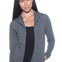 Drawstring Zip Up Knit Hoodie - Charcoal