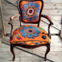 Antique French armchair, upholstered in vintage orange Suzani