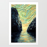 The Stillness of the Bay Art Print by James R Eads Illustration