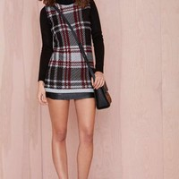 Nasty Gal Plaid Student Turtleneck Sweater Dress