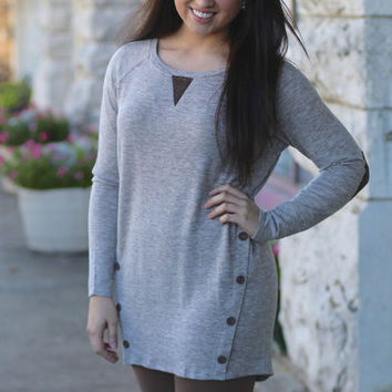Elbow Patch Button Tunic {Mocha + Brown}
