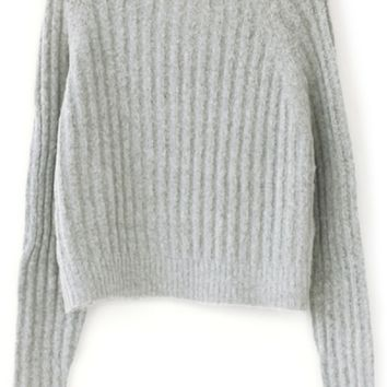 Comfy Cropped Cable Sweater - OASAP.com