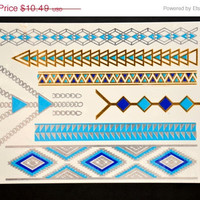 SALE! Metallic Gold Silver and Blue Temporary Tattoo Jewelry - Flash Tattoo - Easy Application Jewelry Body Ink Art Bracelet Armband