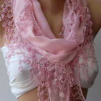 ON SALE /Pink /Cotton/ Traditional Turkish Fabric -Anatolian Shawl/Scarf...