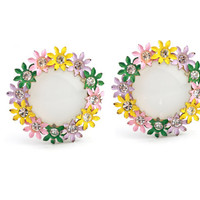 Vintage Circular Daisy and Rhinestone Clip On Earrings / Moonglow Thermoset