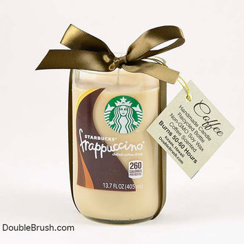 Starbucks Candle Frappuccino Coffee Candle Repurposed Bottle Candle Gift for Coffee Lover Mocha Coffee Vanilla Coffee Kitchen Decor Brown