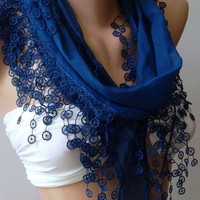 Cobalt  Blue .....Elegance Shawl / Scarf with Lace Edge.
