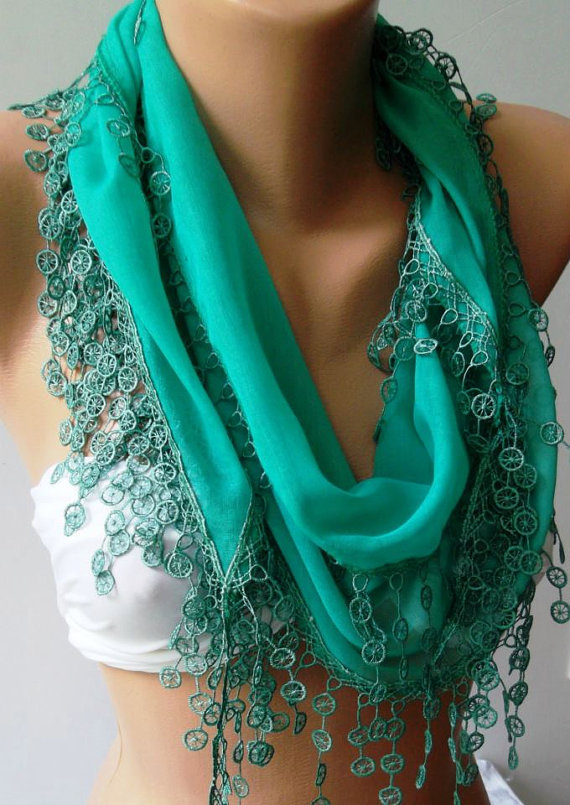 Nile Green - Cotton/ Traditional Turkish fabric / Anatolian Shawl/Scarf