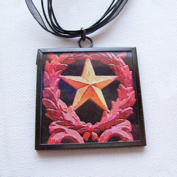 Pendant star 2x2 statement necklace wearable art original photo framed under glass