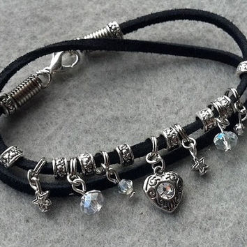 Black Sude Double Wrap Bracelet