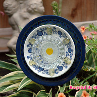 Dark Blue White and Yellow Garden Flower Plate / Handmade / Housewares / Outdoor / Garden Décor / Yard Art