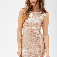 FOREVER 21 Sequined Sheath Dress Rose Gold
