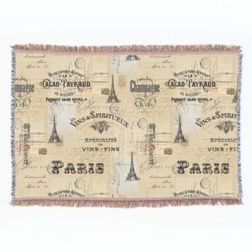 Paris Label Collage French Postcards Throw Blanket