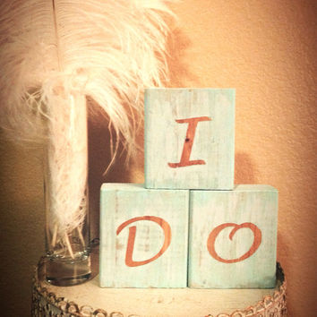 I Do Sign- Cake Table Decor- I DO Blocks- Centerpiece Wood Blocks- Candy Buffet-Cake Table-Rustic Wedding Decor- Something Blu