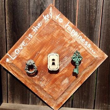 Love Is The Key To Happiness Jewelry Hanger Necklace Holder Wood Rustic Wall Decor