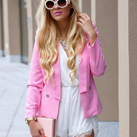 Choies Limited Edition Pink Blazer With Slim Ninth Pants
