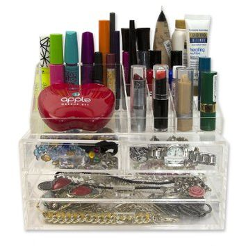 Acrylic Cosmetic Organizer with Drawers and Removable Lipstick Organizer with 20 Compartments by D'Eco
