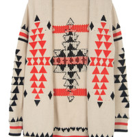 Beige Geometry Kintted Cardigan