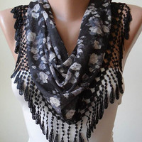 Black and Grey Flowered Scarf with Black Trim Edge -Triangular...