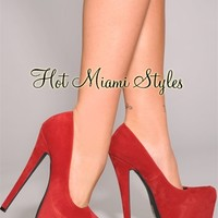 Red Faux Suede Oversized High Heel Pumps