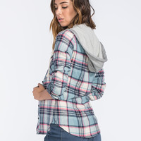 POLLY & ESTHER Womens Hooded Flannel Shirt 249278249 | Flannels & Plaids