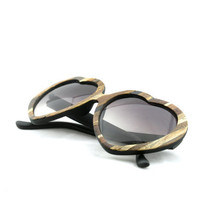 SALE Lolita Womens Heart Sunglasses // The Original Handcrafted Wood Veneer Sunglasses // PATCHWORK