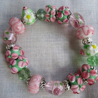 Lampwork Bracelet Green Pink Flower  Heart Beads