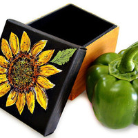 Original Sunflower Art Canvas Box