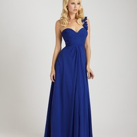 long sweetheart chiffon gown features asymmetrical ruching throughout the bodice and a one-shoulder strap YSP1267