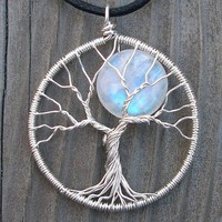 Moon Tree Sterling Silver and Moonstone Pendant - Original Design by Ethora