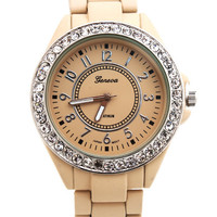 matte-rhinestone-trim-boyfriend-watch BEIGE MINT SALMON - GoJane.com
