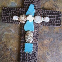 Decorative Turquoise Handmade Cross Wire Wrapped