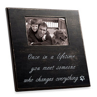 """""""Once In Lifetime"""" 4-Inch x 6-Inch Frame in Black Distressed Wood"""