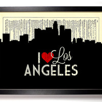 I Love Los Angeles, California City Skyline Dictionary Book Print Upcycled Art Upcycled Vintage Print Antique Dictionary Buy 2 Get 1 FREE