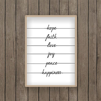 Hope faith love joy peace happiness Quote PDF Printable digital download