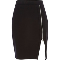 River Island Womens Black zip front pencil skirt