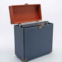 """Crosley 12"""" Record Carrier Case in Navy and Tan - Urban Outfitters"""