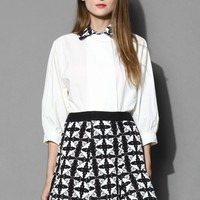 Fly Away Birds Embossed Shirt and Skirt Set Multi