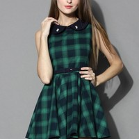 Peter Pan Collar Tartan Skater Dress in Green Green