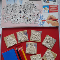 Vintage Disney 101 dalmatinas    7 wood backed rubber stamps