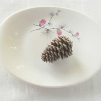 Vintage Canonsburg Potteries Small Platter, Sky Line, Cottage Chic,Pink Thistle, Ca. 1940's